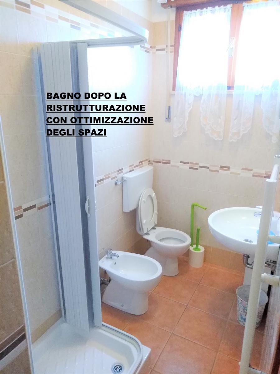 bagno ristrutturato co ottimizzazione degli spazi